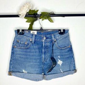 ❤️ Levi's 501 Mid-Rise Distressed Denim Shorts NWT